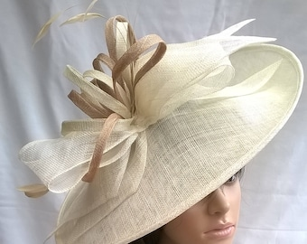 Ivory   pale gold large Hatinator Sinamay and feathers on a Headband..with  bag 0b6627cd86e