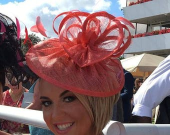 Coral Fascinator ..Sinamay and  feather Fascinator...Gemma..orange tone not pink