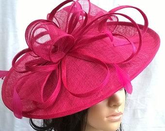 Amanda..Fushsia pink hatinator..Stunning Sinamay Hat on a Headband..Hatinator