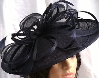Amanda..Navy hatinator..Stunning Sinamay Hat on a Headband..Hatinator..*