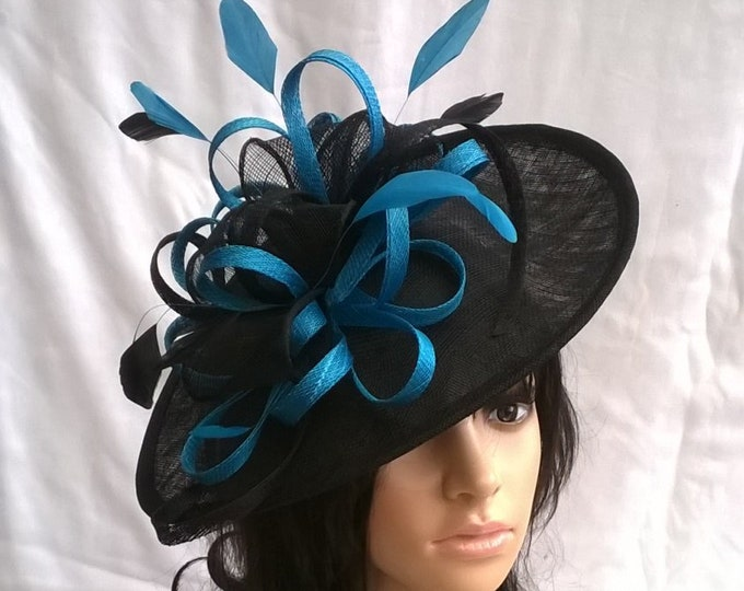 04ad50edb248c Black or Navy with Turquoise accent Fascinator.. Sinamay Shaped disc  Fascinator