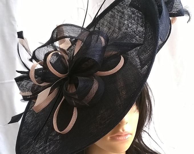 647999a552e2a Sophia..Navy Blue   Nude Blush Hatinator..Stunning Sinamay Fascinator Hat on