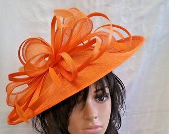 Amanda..Orange hatinator..Stunning Sinamay Hat on a Headband..Hatinator