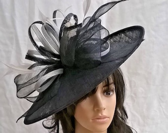 Navy   silver large Hatinator Sinamay and feathers on a Headband. e61f14803d7