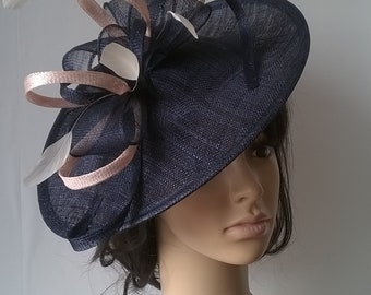 6857c432 Navy with nude blush accent Fascinator..Stunning shaped Fascinator on a  Headband..Kathleen