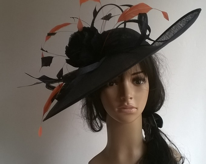 dd7685b6 Stunning Navy Sinamay Statement hatinator with accent feathers..on a