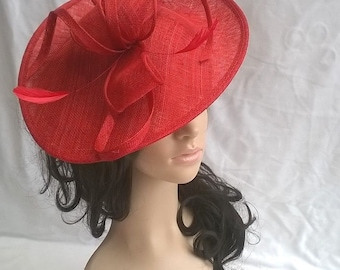 jessica Rouge Red Fascinator..Stunning shaped Sinamay Fascinator Hat on a  Headband 8b7d32f60fc