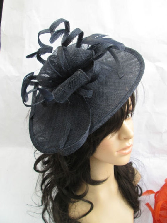 c406b83a88d47 Marianne..Stunning Navy Blue Sinamay Shaped disc Fascinator