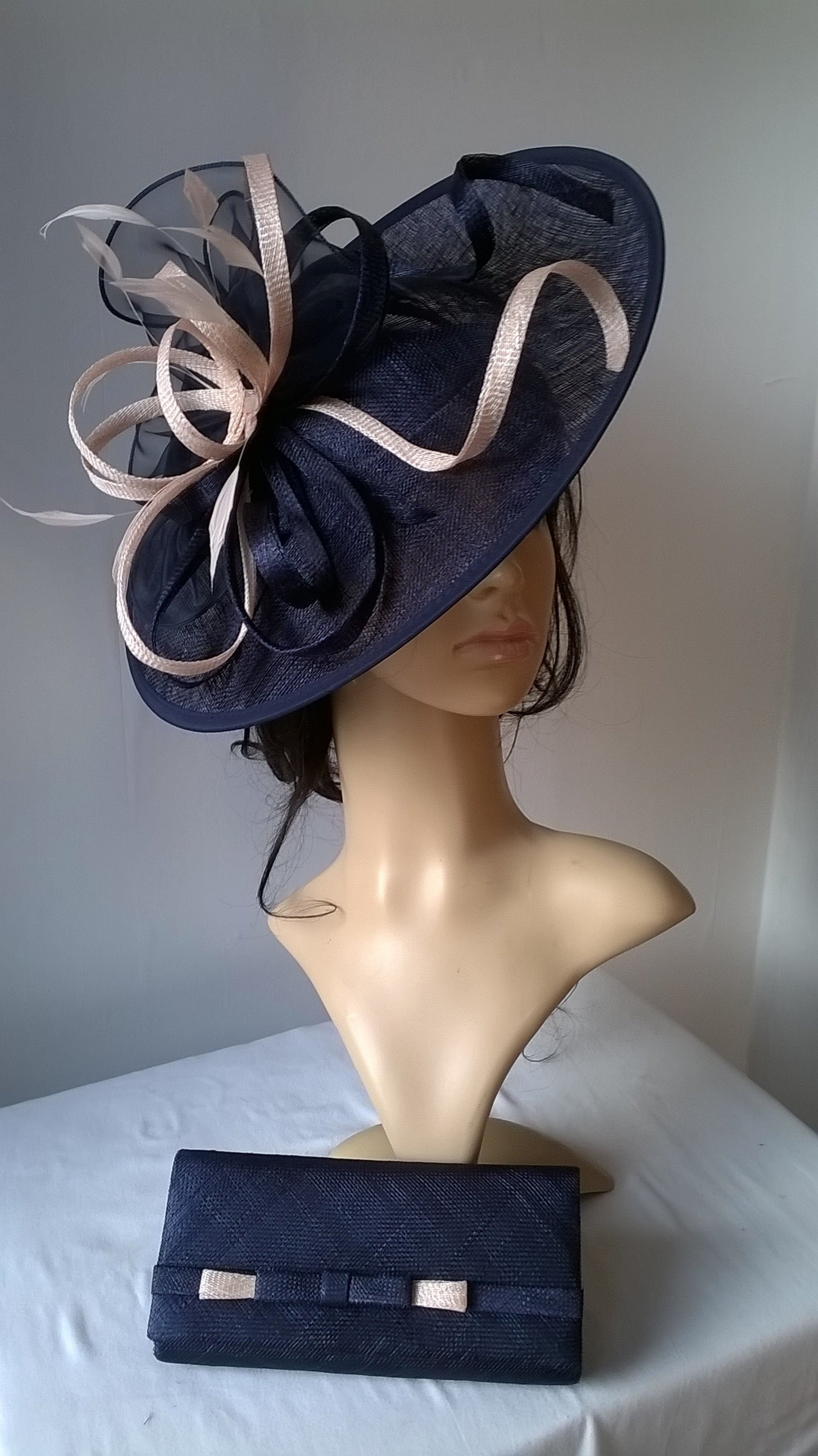 175abacf Navy Blue with nude blush Feather Fascinator..Stunning Sinamay Fascinator  on a Headband.