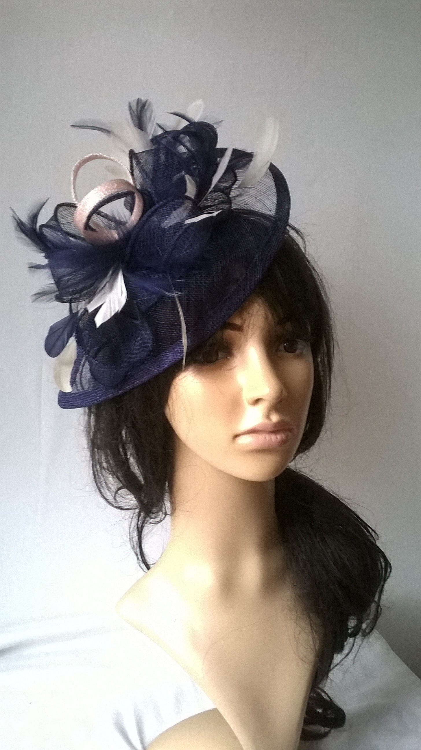 41479d48 Stunning Navy Blue & nude blush Fascinator ..Sinamay and Feather Teardrop  style with swirls ,coque Feathers