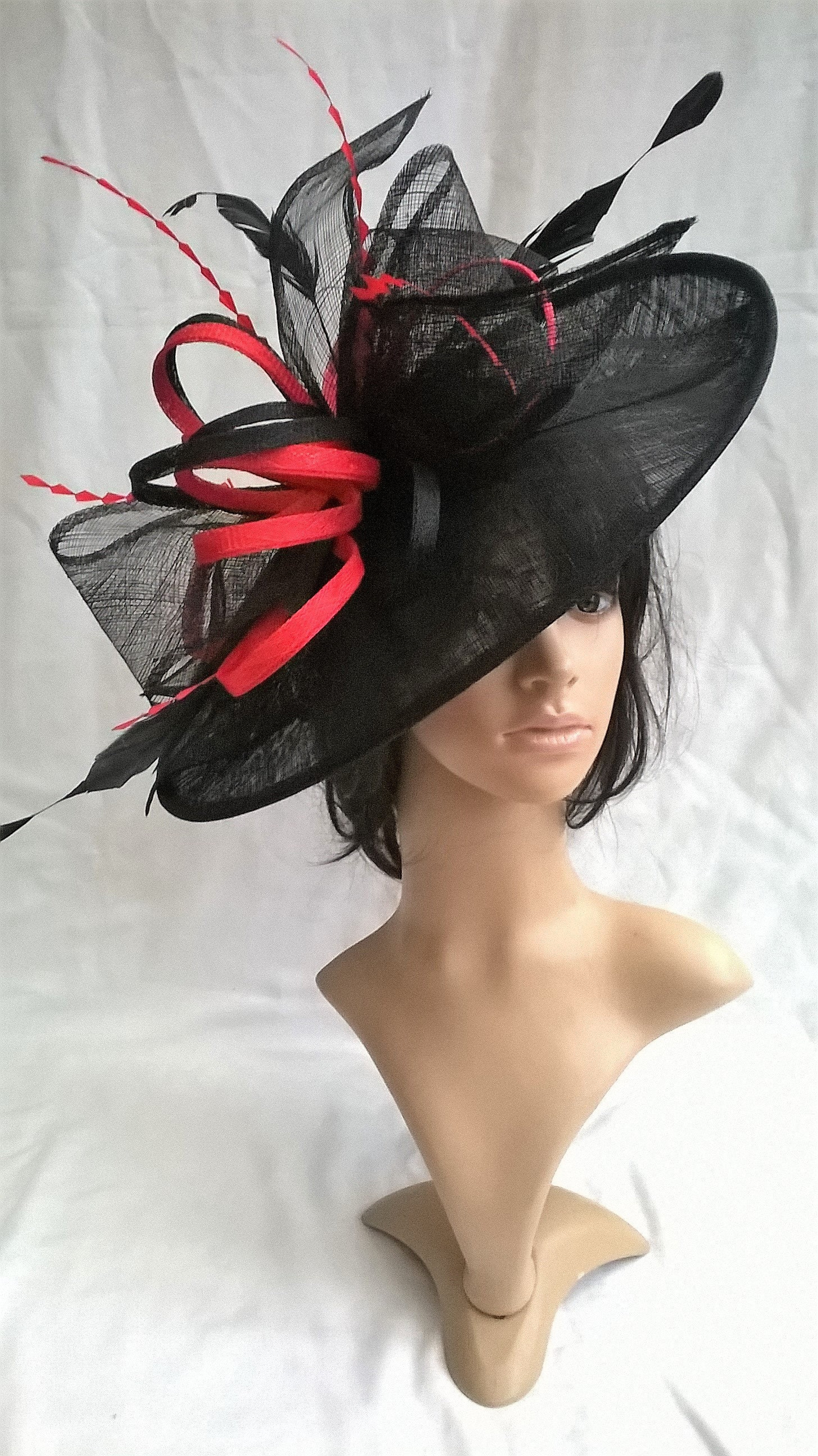 Lynette..Black with red large Hatinator Sinamay and feathers on a ... 8a5bd106a81