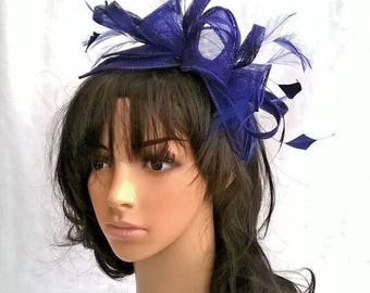 Stunning Twilight Sinamay and  Feather Fascinator Rosette Leaves