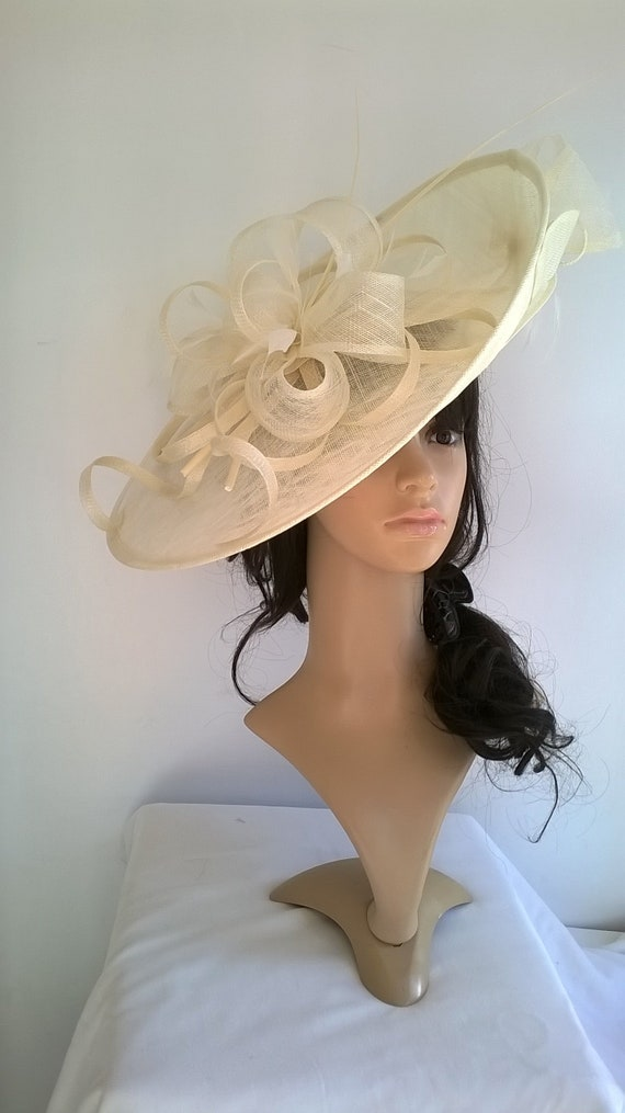 Sophia..Ivory Hatinator..Stunning Sinamay Fascinator Hat on a  d8a60a7b8fa