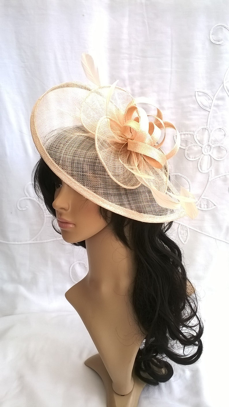 Nude Fascinator..Stunning  Fascinator ..Sinamay and  Feather image 0