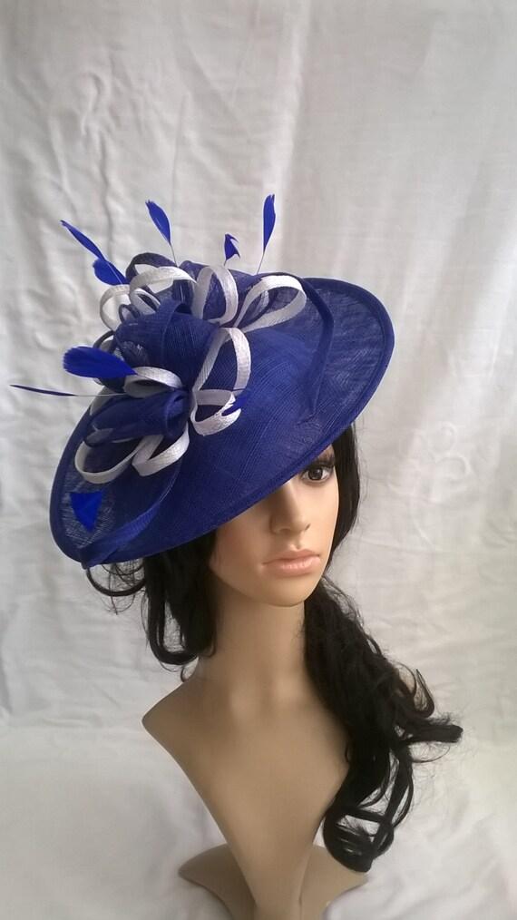 Marianne.Sapphire Blue   White Fascinator..Stunning Sinamay  cbf9c57dca2