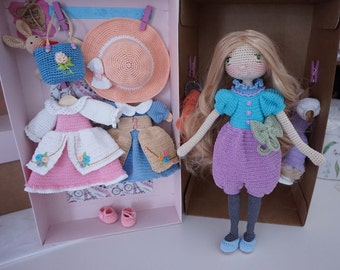 Finished doll with outfit / crocheted doll set