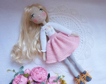 Crocheted doll / Beautiful handmade doll with outfit
