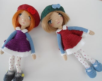 Little doll with outfit crochet pattern / tiny doll 7inch