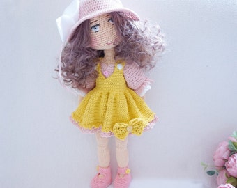 Tilda doll with pretty outfit crochet pattern ( doll body include hair and face  )