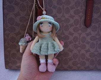 Little doll girl crochet pattern (included dress and hat )