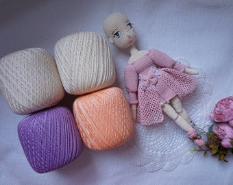 4x cotton mercerized / beautiful yarn colour for your crocheting project