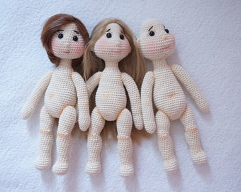Small doll body crochet pattern ( not include hair and clothing )