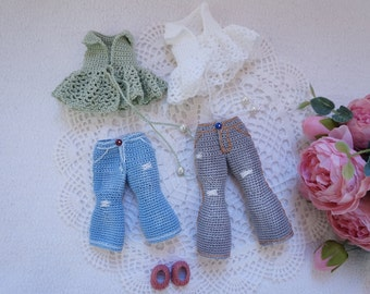 Blythe doll joints body crochet outfit pattern / jeans / Blouse and shoes