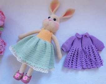 Pretty bunny with outfit crochet pattern ( not include process of embroidered flower)