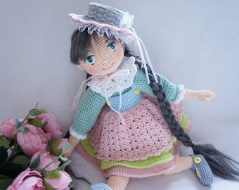 Doll handmade / crocheted doll with pretty outfit