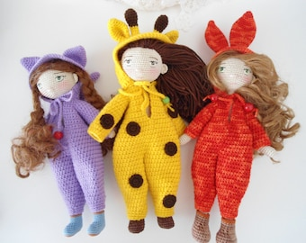 Doll with animal jumpsuit crochet pattern