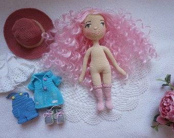 Crocheted doll set / doll handmade / doll with outfit