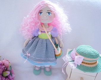 Crocheted doll with outfit