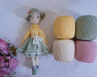 4x cotton Mercerised / beautiful yarn colour for your crocheting project