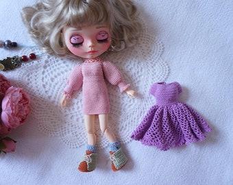 Blythe doll joints body outfit crochet patterns / 2x dresses crochet patterns