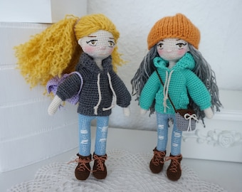 Tiny doll crochet set / doll with outfit crochet pattern