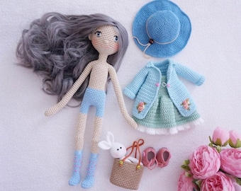 Pretty doll crochet with clothes pattern / doll crochet size 30cm (not included embroidered flowers)