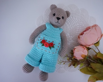 Amigurumi bear with clothing crochet pattern ( not include embroidered flower )