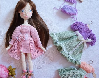 Beautiful doll set handmade / crocheted doll set with outfits