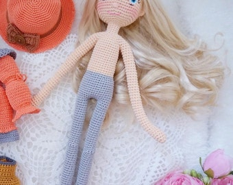 Slim doll body crochet pattern * include hair and embroidery  face  * / 30cm doll pattern