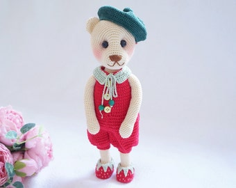 Pretty bear with outfit crochet pattern ( include shoes and hat)