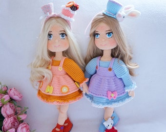 Pretty Doll crochet with outfit pattern ( not include head band and mini cat )