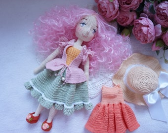 crocheted doll with outfit  / beautiful doll handmade