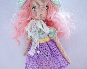 Doll handmade with outfit / crocheted doll set