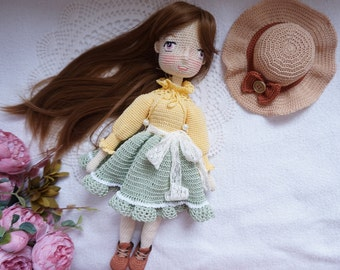 Doll handmade with outfit / crocheted doll * Ready to ship*