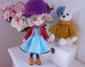 Blythe dress and jacket crochet pattern / dress crochet for doll 25-30cm ( not include shoes , hat and bear)