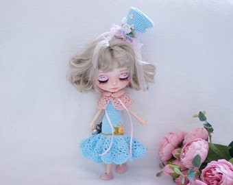 Blythe doll dresses with headband crochet pattern ( not include shoes )