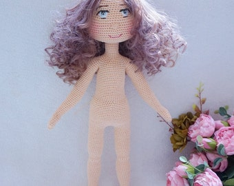 Crochet pattern for doll body with hair and embroidered face ( not include clothing )