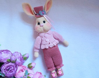 Pretty bunny with outfit crochet pattern ( not include embroidered flower)