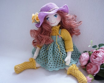 Doll joints body crochet and outfit patterns ( not include hair , face embroidered  and Rose flowers)
