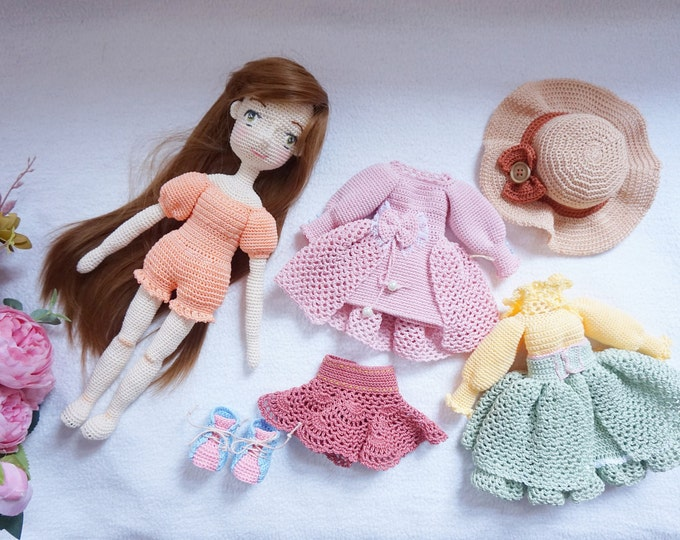 Featured listing image: Beautiful doll set handmade / crocheted doll set with outfits